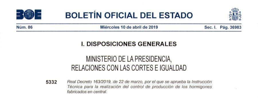 RD 163/2019 PLANTA HORMIGONES CASTREJON TOLEDO